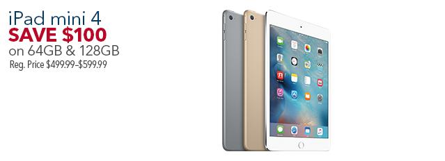 iPad mini 4 on 64GB & 128GB(オンラインでも購入可)